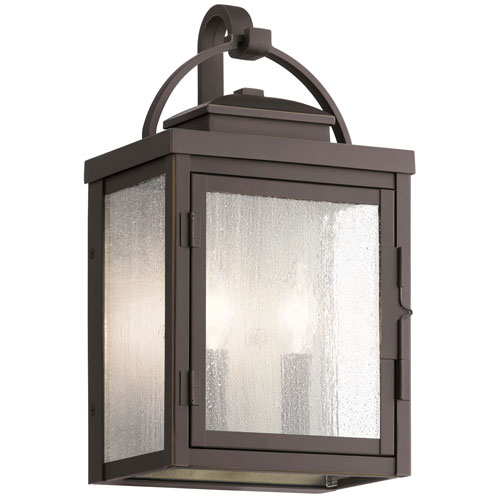 Carlson Rubbed Bronze 15-Inch Two-Light Outdoor Wall Sconce