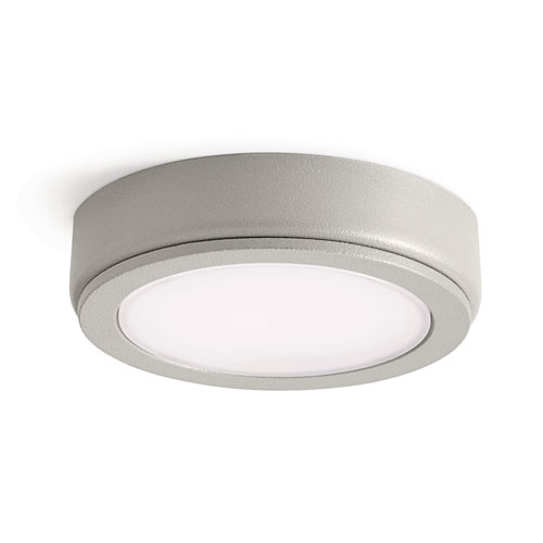 6D Series Textured Nickel 24V DC 3000K LED Undercabinet Puck Light