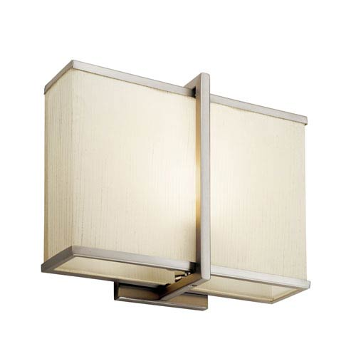Kichler Satin Nickel 12-Inch Energy Star LED Wall Sconce with Natural Linen Shade