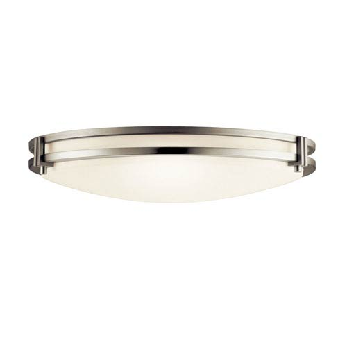 Brushed Nickel Two-Light Flush Fluorescent