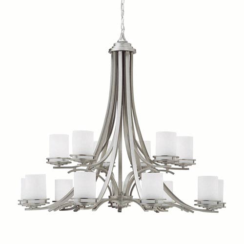 Hendrik Brushed Nickel Two-Tier, Fifteen-Light Chandelier