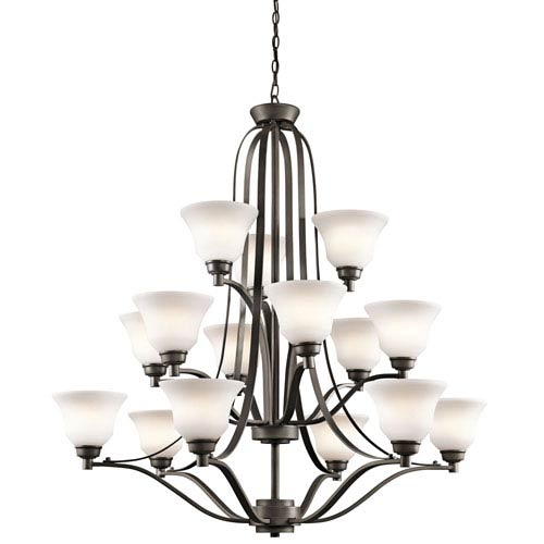 Kichler Langford Olde Bronze 15 Light Three Tier Chandelier with Satin-Etched White Glass
