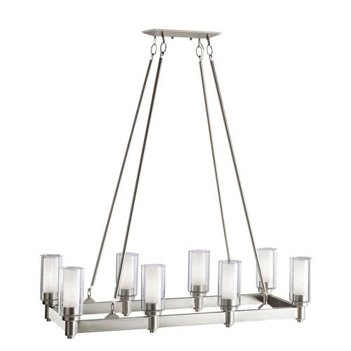 Circolo Brushed Nickel Eight-Light Rectangle Chandelier