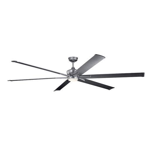 Kichler Szeplo Patio Weathered Steel Powder Coat 96-Inch Wet Location LED Ceiling Fan