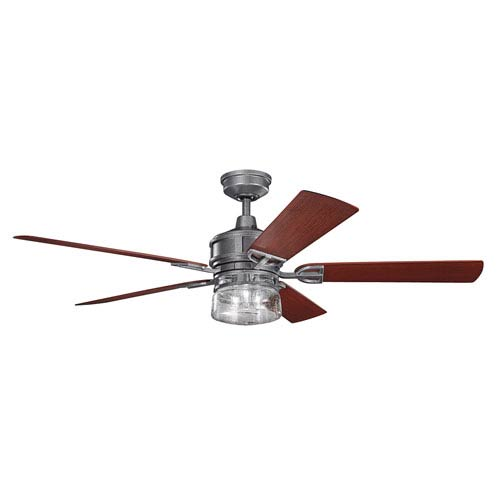 Lyndon Patio Weathered Steel Powder Coat 60-Inch Outdoor Ceiling Fan