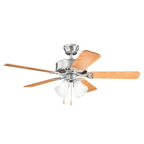 Kichler Renew Premier Brushed Stainless Steel Four Light Ceiling Fan