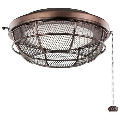 Kichler Oil Brushed Bronze Industrial Mesh LED Fan Light Kit