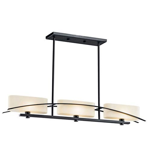 Kichler Suspension Painted Black Three-Light Island Pendant