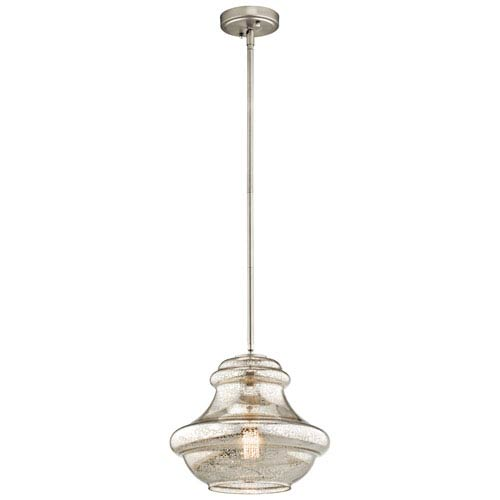Everly Brushed Nickel 12-Inch One Light Pendant