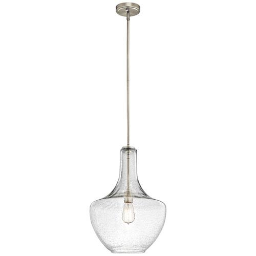 Everly Brushed Nickel 14-Inch One Light Pendant