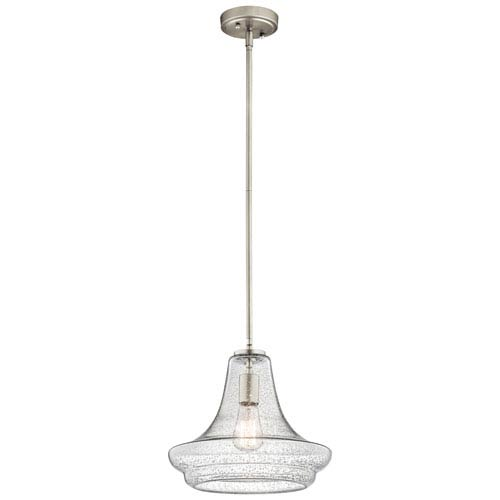 Everly Brushed Nickel 12.5-Inch One Light Pendant