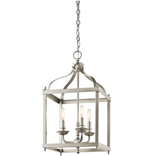 Kichler Larkin Brushed Nickel Three Light Cage Foyer Pendant