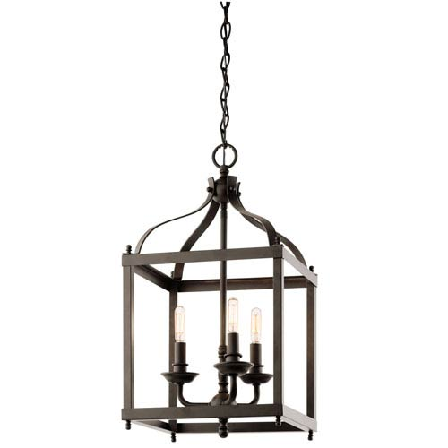 Kichler Larkin Olde Bronze Three Light Cage Foyer Pendant