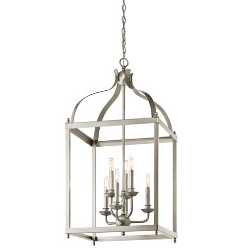Kichler Larkin Brushed Nickel Six Light Cage Foyer Pendant