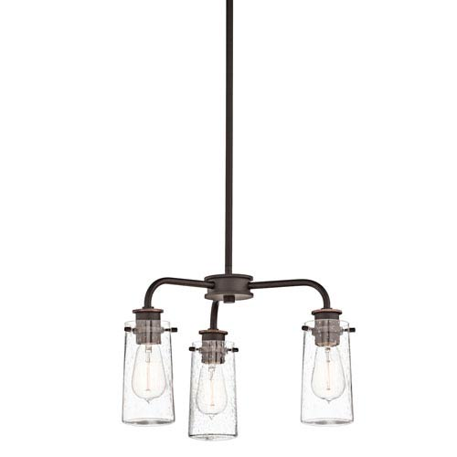 Kichler Braelyn Olde Bronze Three Light Chandelier and Semi Flush with Clear Seedy Glass