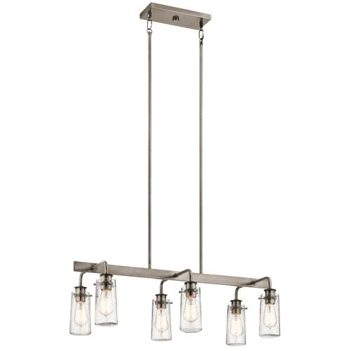 Braelyn Classic Pewter Six-Light Linear Pendant
