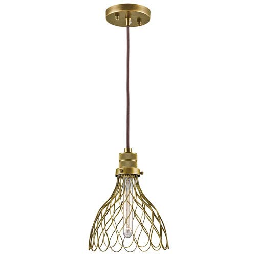 Devin Natural Brass One-Light Mini Pendant