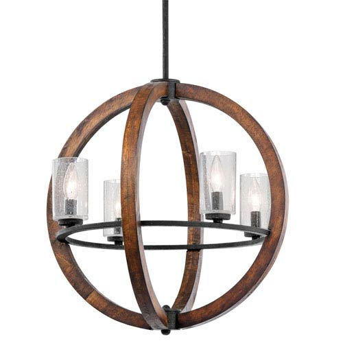 Grand Bank Four-Light Auburn Stained Finish Pendant
