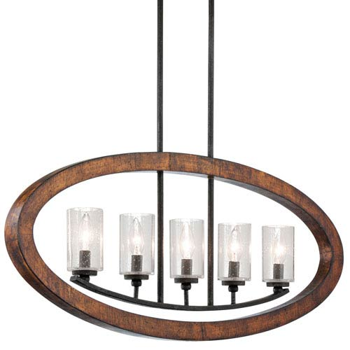 Kichler Grand Bank Five-Light Auburn Stained Finish Island Pendant