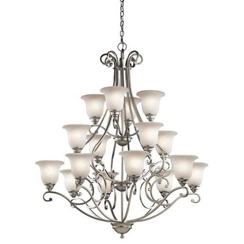 Kichler Camerena Brushed Nickel 16 Light Three Tier Chandelier with White Scavo Glass