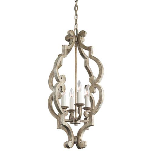 Kichler Hayman Bay Four-Light Distressed Antique White Foyer Mini Chandelier