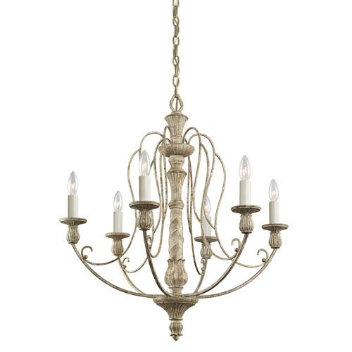 Antique white chandeliers bellacor kichler hayman bay six light distressed antique white chandelier aloadofball Images