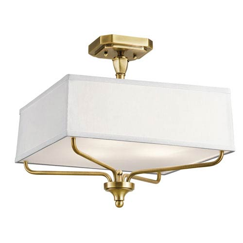 Arlo Natural Brass Three-Light Semi Flushmount