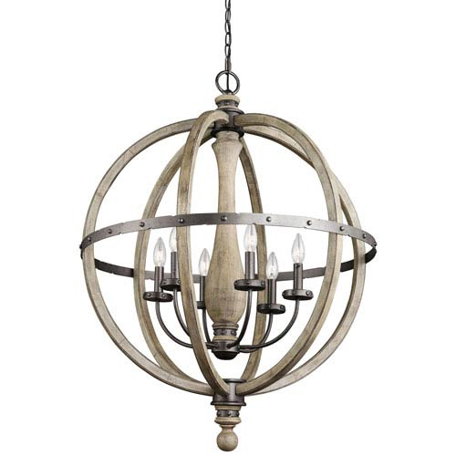 Kichler Evan Distressed Antique Gray Six Light Pendant