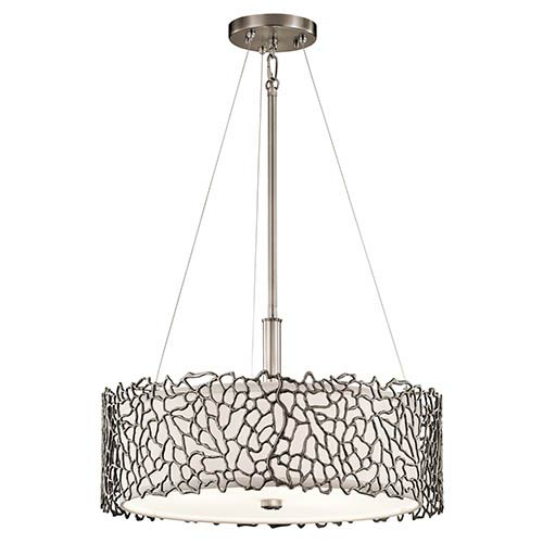 Silver Coral Classic Pewter Three-Light Semi-Flush Convertible Pendant