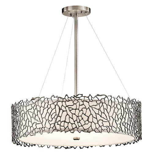 Silver Coral Classic Pewter Four-Light Round Chandelier Convertible Drum Pendant