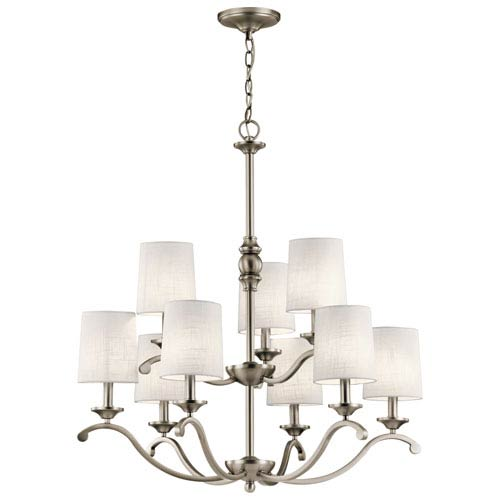 Versailles Antique Pewter 30-Inch Nine-Light Two Tier Chandelier with White Hardback Shade