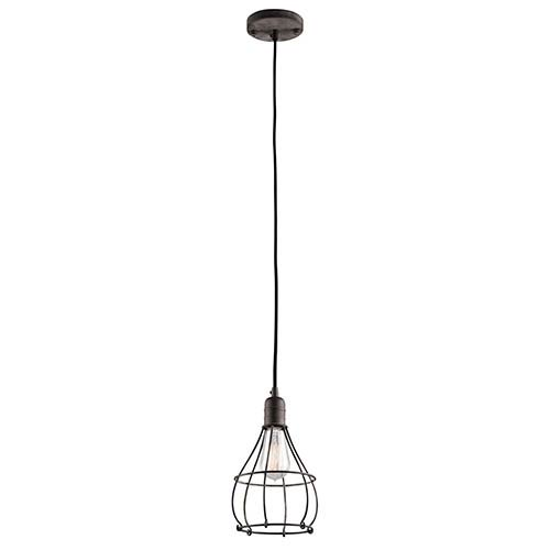 Industrial Cage Weathered Zinc One-Light 6.75-Inch Wide Mini-Pendant