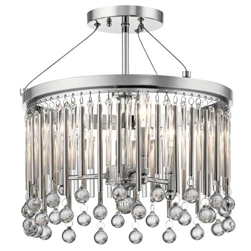 Piper Chrome Three-Light Semi Flush Mount