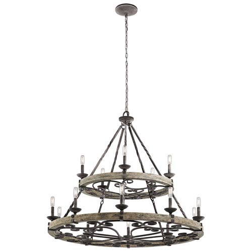 Taulbee Weathered Zinc 15-Light Chandelier