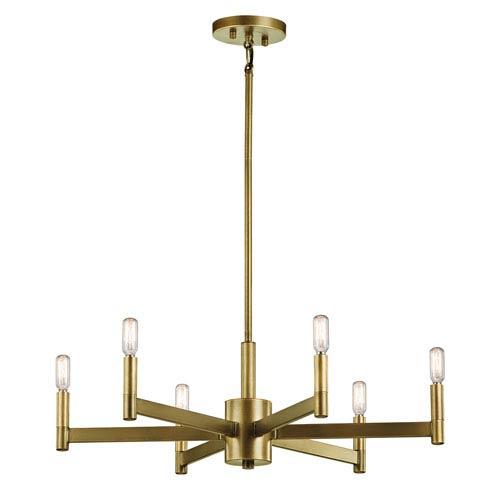 Erzo Natural Brass Six-Light Chandelier