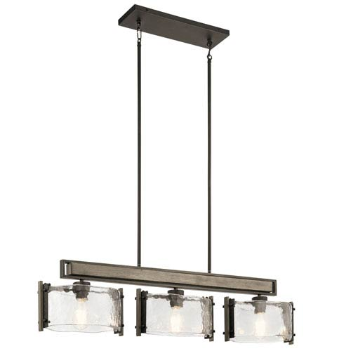 Aberdeen Olde Bronze Three-Light Linear Pendant