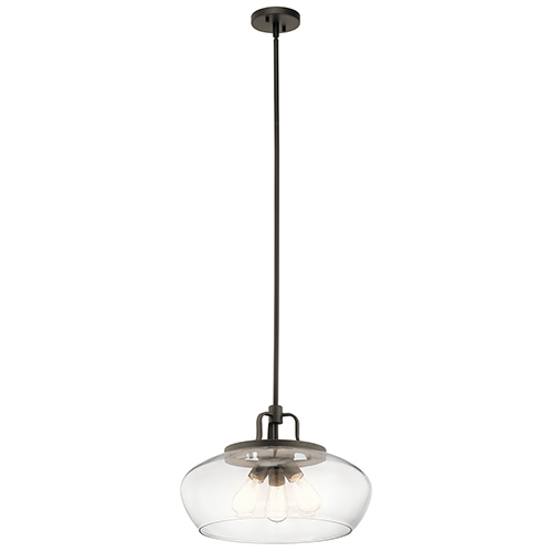 Davenport Olde Bronze 18-Inch Three-Light Pendant and Semi-Flush Mount