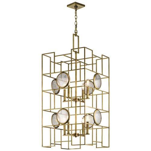 Kichler Vance Natural Brass 20-Inch Eight-Light 2 Tier Abstract Chandelier