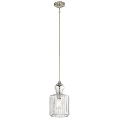 Riviera Brushed Nickel 8-Inch One-Light Mini Pendant