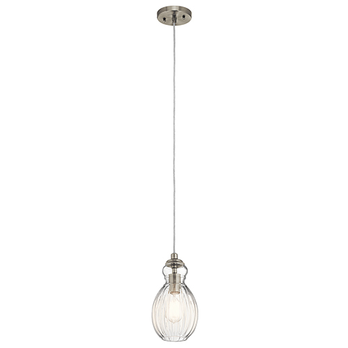 Kichler Riviera Brushed Nickel 6-Inch One-Light Mini Pendant