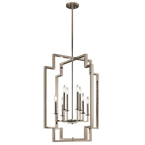 Downtown Deco Polished Nickel 24-Inch Eight-Light 2 Tier Abstract Chandelier