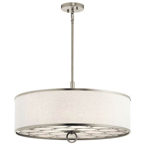 Melrose Brushed Nickel 24-Inch Four-Light Pendant with White Fabric Shade