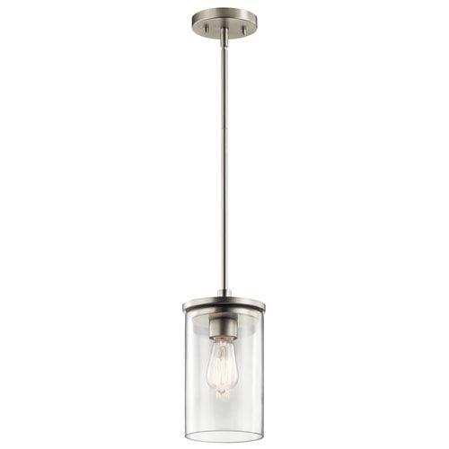 Crosby Brushed Nickel 6-Inch One-Light Mini Pendant