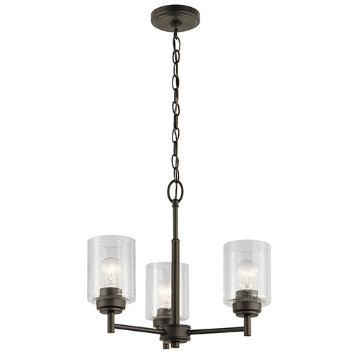 Winslow Olde Bronze 18-Inch Three-Light Mini Chandelier