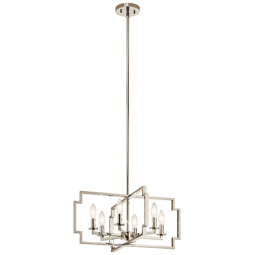 Downtown Deco Polished Nickel 22-Inch Six-Light Chandelier and Semi-Flush Mount