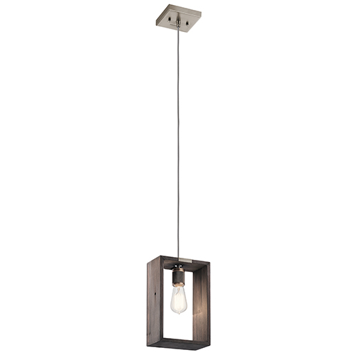 Industrial Frames Classic Pewter 8-Inch One-Light Reclaimed Wood Mini Pendant