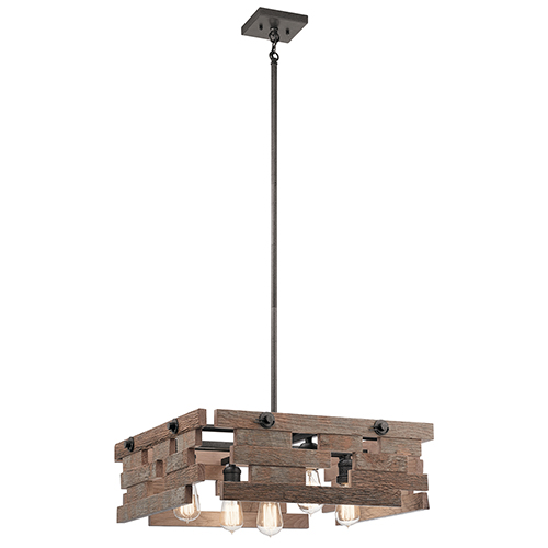 Cuyahoga Mill Anvil Iron 24-Inch Five-Light Square Reclaimed Wood Pendant