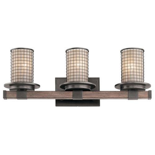 Kichler Ahrendale Anvil Iron 24-Inch Three-Arm Bath Light