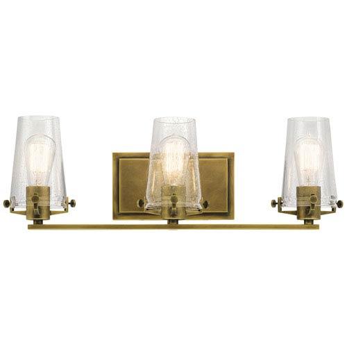 Alton Natural Brass 24-Inch Three-Arm Bath Light