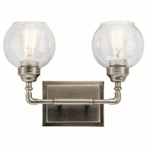 Niles Antique Pewter 15-Inch Two-Arm Bath Light